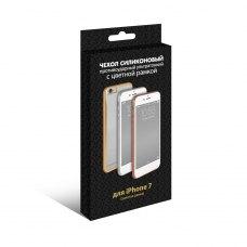 Силиконовый супертонкий чехол с цветной рамкой DF для Apple iPhone 7 Золотой