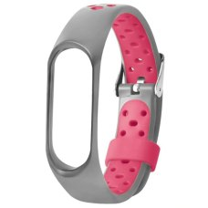 Браслет-ремешок силиконовый с перфорацией для Xiaomi Mi Band 5 Серо-розовый